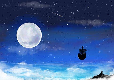 Luffy, Sunny, Night, Ship, Pirate, Moon