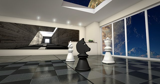 Chess Utopia, Lady, Horse, Springer, Space, 3d, Texture