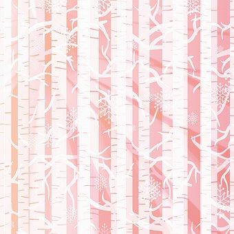 Birch Tree Forest, Background, Sun, Pink, Nature