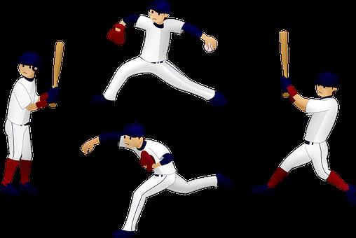 Baseball Players, Bats, Mitt, Throw The Ball, Pitch