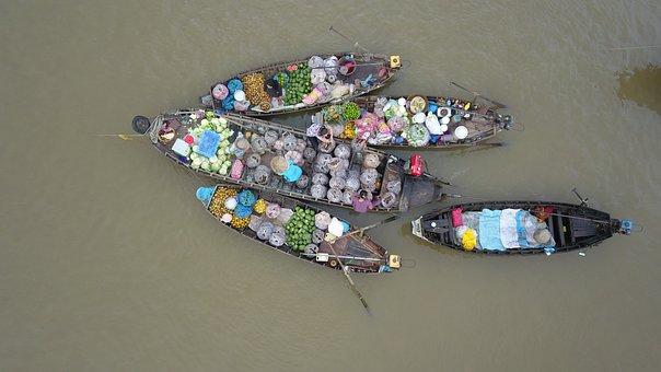 Floating Market, Vietnam, Cantho City, Mekong Delta