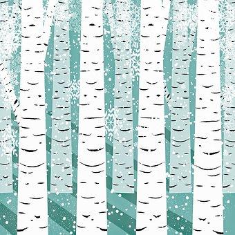 Birch Tree Background, Snow, Landscape, Winter, Nature