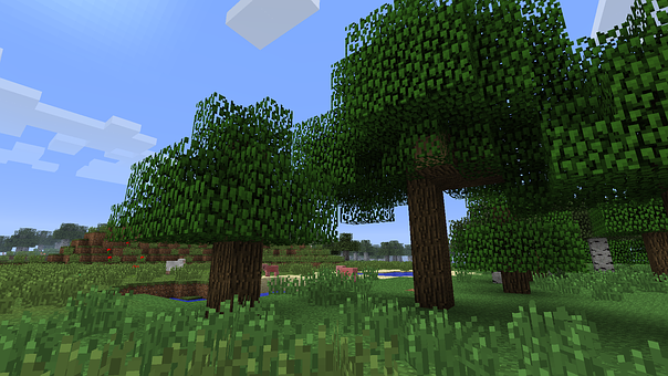 Minecraft, Trees, Grass, Forest, Nature, Green