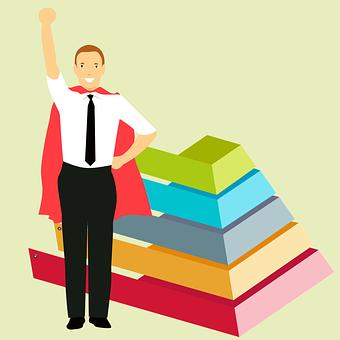 Business, Hero, Growing, Chart, Superhero, Employee