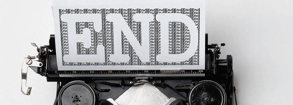 Typewriter, End, Font, Off, Final, Retro, Vintage, Old