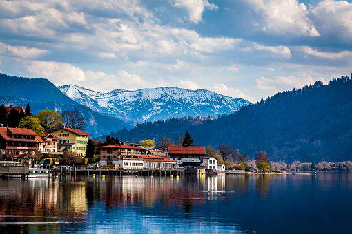 Lake, Alpine, Blue Mountains, Tegernsee, Tegernsee Town