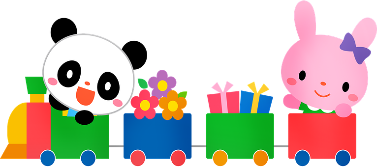 Choo Choo Train, Rabbit, Panda, Kawaii, Cute, Zoo