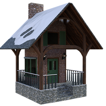 Cabin, Winter, Snow, Cottage, House, Porch, Windows