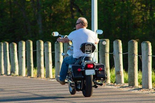 Man, Bike, Biker, Ride, Outdoors, Harley