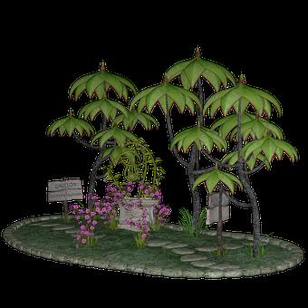 Little Park, Scene, 3D, Render