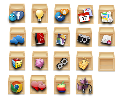 Set, Collection, Symbol, Box, Icon, Group, Wood, Apps