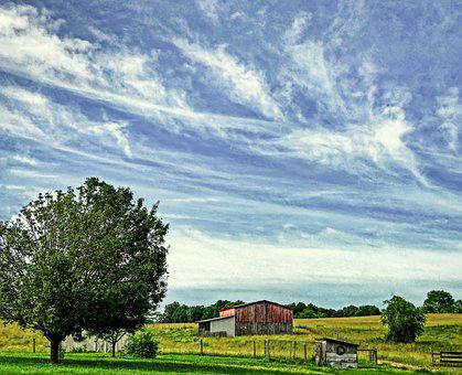 Barn, Sky, Rural, Country, Trees, Farm