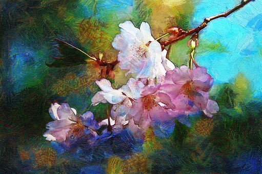 Painting, Oil, Digital, Flowers, Impressionism, Flora