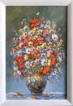Bouquet, Image, Ole, Flowers, Vase, Painting, Plant