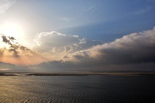 France, Atlantic, Evening, Beach, Sea, Sunrise, Sunset