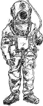 Helmet Diver, Divers, Divers Helmet, Comic, Diving