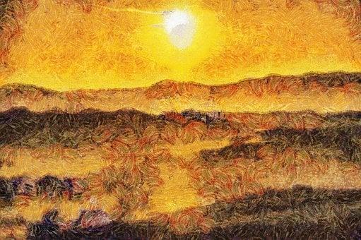 Painting, Oil, Digital, Tuscany, Landscape, Sunset