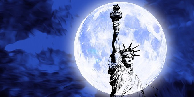 Moon, Statue Of Freedom, Usa, United States, America