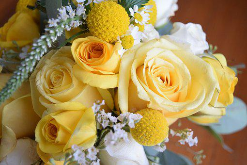 Yellow, Wedding, Bouquet, Roses, Flowers, Billy Ball