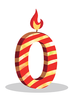 Zero Birthday Candle, 0 Birthday Candle