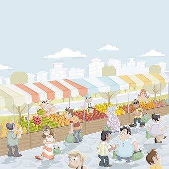Market, Marketplace, Buying, Fair, People, Selling