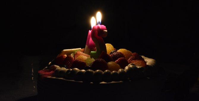 Cake, Birthday, Candles, Fruit, Celebration, Celebrate