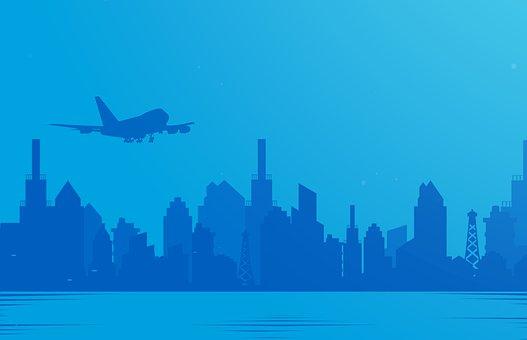 Airplane, Flying, City, Over, Flight, Plane, Sky