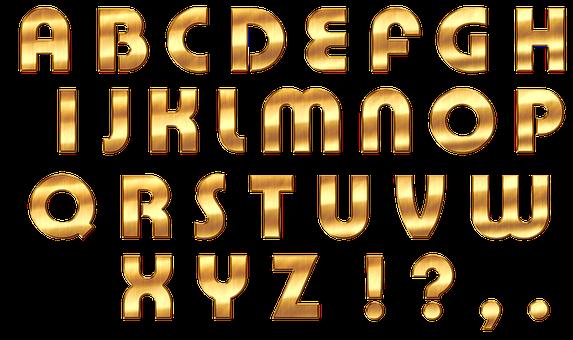 Alphabet, Letters, Gold, Abc, Font, Shiny, Gloss, Noble