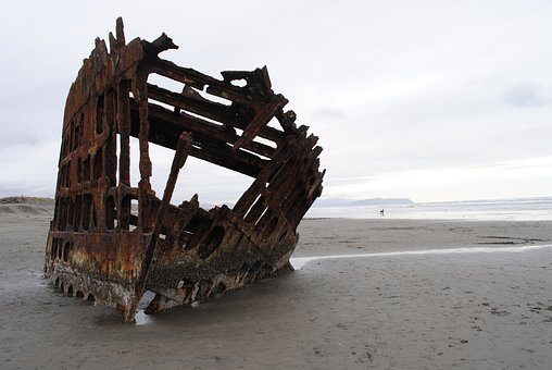 Shipwreck, Wreck, Beach, Ocean, Sea, Coast, Abandoned