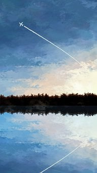 Painting, Creativity, Landscape, Cloud, Water, Plane
