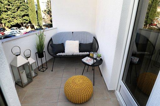 Balcony, Small Terrace, Lamps, Plants, Decoration, Home
