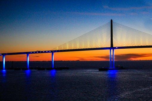 Sunshine Skyway Bridge, Florida, Bridge, St, Petersburg