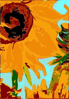 Flowers, Paint, Vincent Van Gogh, Sunflower, Design