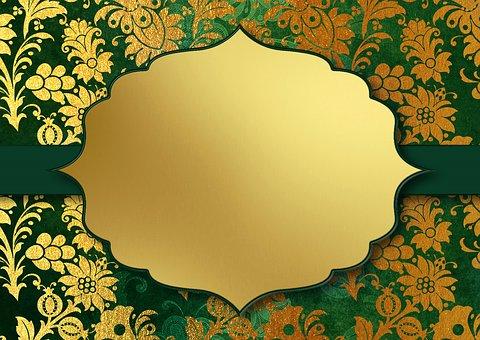 Background Image, Gold, Floral, Frame, Pattern