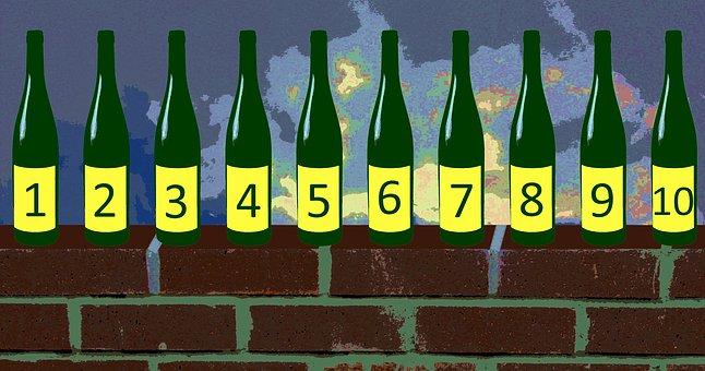 Education, Ten, Green, Bottles, Standing, Nursery Rhyme