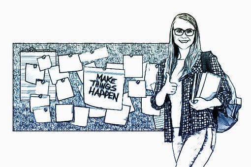 Bulletin Board, Stickies, Woman, Student, Person