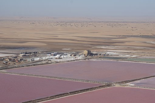 Salt Extraction, Cost, Bird's-eye View, Namibia, Desert