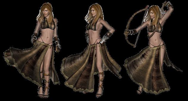 Fantasy, Woman, Female, Elf, Elven, Bow, Arrows, Sexy