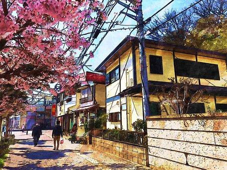 Kamakura, Japan, Alley, Side, Street, Community, Tree