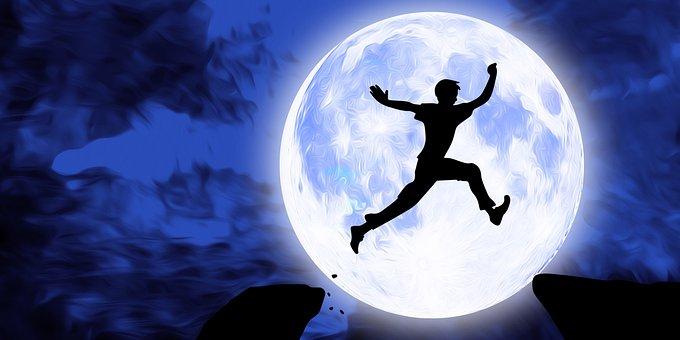 Jumping, Athlete, Sport, Fitness, Moon, Night, Sky