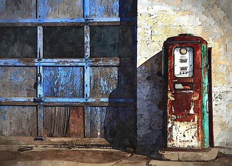 Old Gas Station, Vintage, Old, Gas, Station, Gate