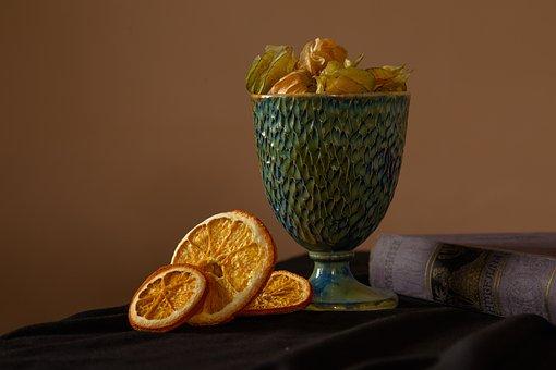Oranges, Books, Glass, Ceramics, Still Life