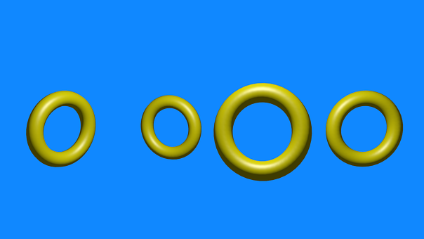 Rings, Yellow, Shape, Summer, Blue, Color, Postcard