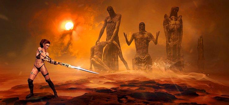 Fantasy, Sun, Red, Figures, Woman, Sword