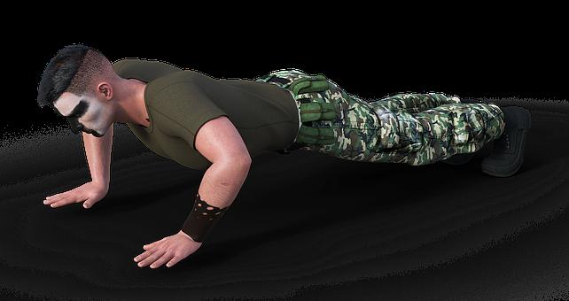 Soldier, Uniform, Pushups, Military, Man, Sport