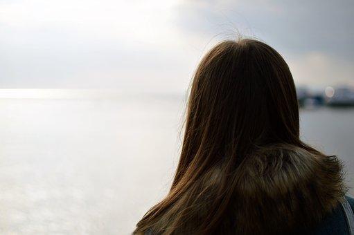 Girl, Baby, Hair, Back, Head, Nature, Landscape, Sea