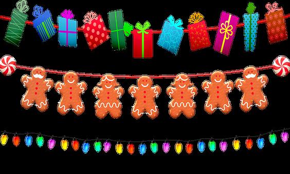 Christmas Garland, Christmas Lights, Gingerbread