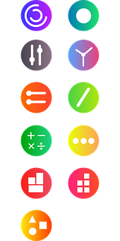 Buttons, Icons, Applications, Drawing, Gradient