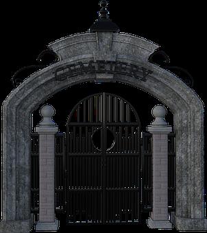 Cemetery, Gate, Iron, Stone, Entrance