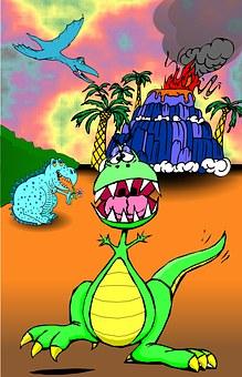 Dinosaurs, Volcano, Kids, Poster, Fun, Clip Art